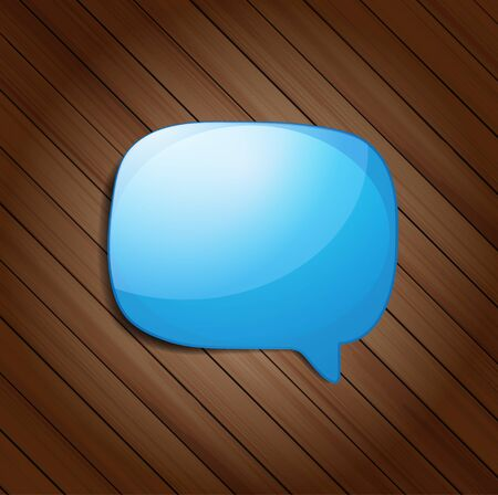 Abstract glossy speech bubble on wood background, Vector illustration  Vector