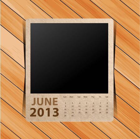 Calendar 2013, blank picture on wooden background   template design Stock Vector - 16517415