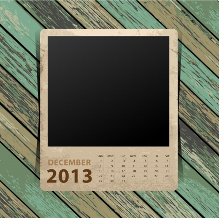 Calendar 2013, blank picture on wooden background   template design Stock Vector - 16517402