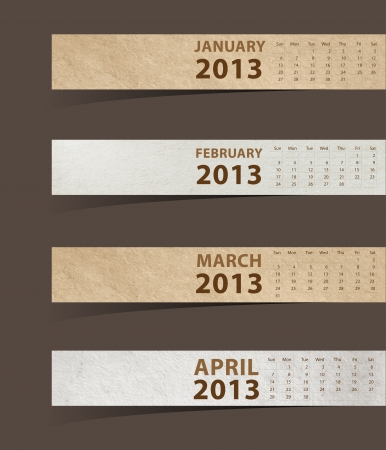 2013 Calendar, Paper stick with month january, february, march, april   illustration template design  Vector