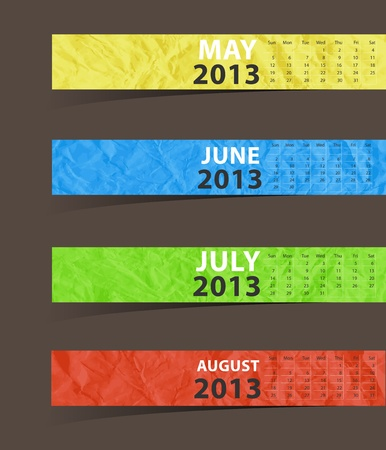 2013 Calendar, Paper stick with month may, june, july, august    illustration template design   Vector