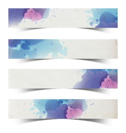 multilayer: Watercolor paper stick on white background, Save paths for design work