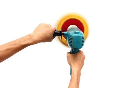 burnish: Machine polishing for car care, isolated on white background  Stock Photo