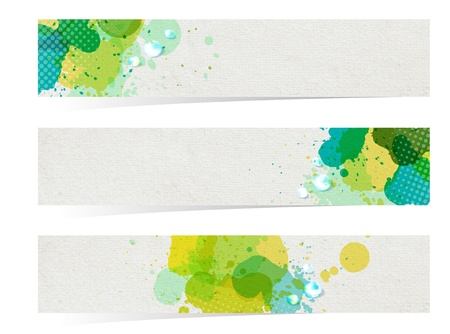 three banners, watercolor abstract headers with green blots  Vector