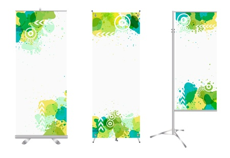 retail display: blank roll up banner display with watercolor splatter identity template  Illustration
