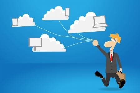 Businessman works with cloud computer concept ideas, vector illustration design  Stock Vector - 16740748