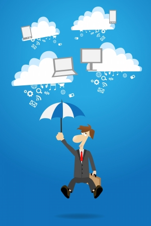 Businessman works with cloud computer concept ideas, vector illustration design Stock Vector - 16740751