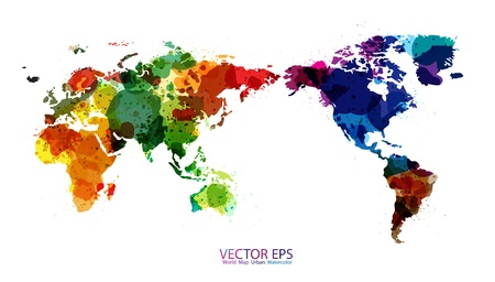world globe map: World Map Watercolor, Vector illustration Illustration