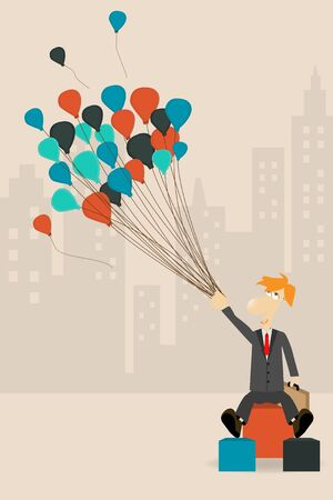 businessman holding a balloon, Vector cartoon character concept  Vector