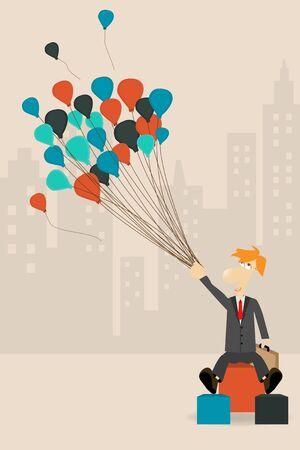 businessman holding a balloon, Vector cartoon character concept Stock Vector - 16740750