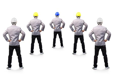 hat project: Engineers person standing back view, isolated on white background