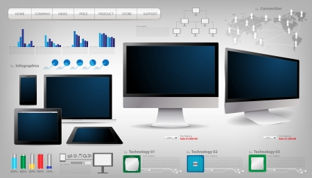 Realistic laptop, tablet computer, monitor and mobile phone template With infographics set and Information technology Graphics  Vector