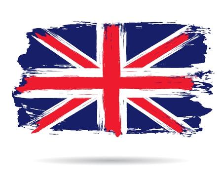 bandiera inglese: britannico bandiera grunge britannico bandiera grunge acquerello tratto di pennello, illustrazione vettoriale Vettoriali