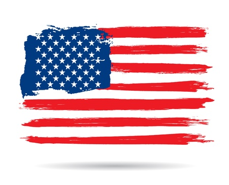 american history: Grunge brush stroke watercolor of American flag, Vector illustration