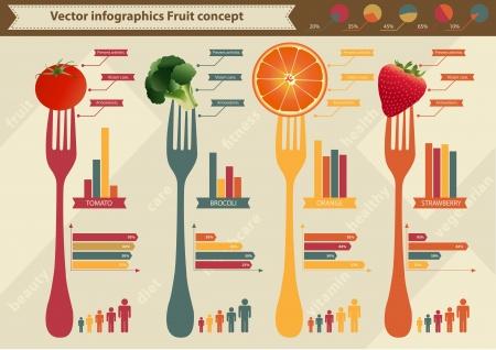 Vector elementen van infographics en Fruit Vector Illustratie