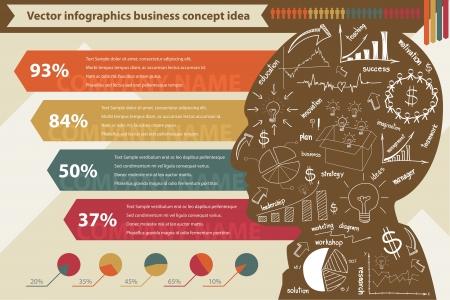 planning diagram: elementi di infografica con disegno strategia di business plan concept idea, vettore modello struttura