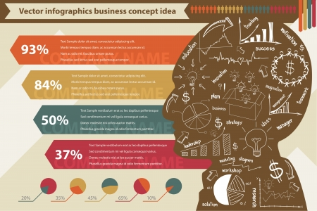 graphic business diagram collection: elements of infographics with drawing business strategy plan concept idea, Vector template design