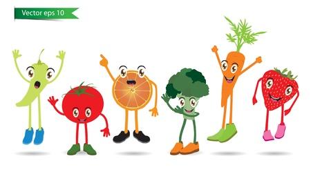 brocoli: Cartoon Fruits set of funny cartoon fruits vector Illustration