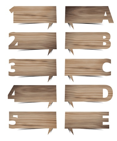 wood sign: Vector wood texture background presentations with letters and numbers