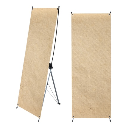 paper texture with roll up banner display, isolated on white background (Save Paths For design work) photo