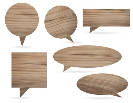 price label: Vector wood texture speech bubbles and balloons illustration collection background
