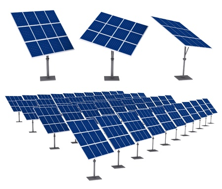 solar cells: Solar Panels 3D render Isolated on White Background  Save paths for design
