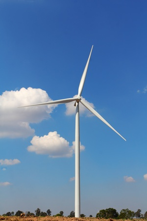 Wind turbines generating electricity, in nakhonratchasima city at thailand  photo