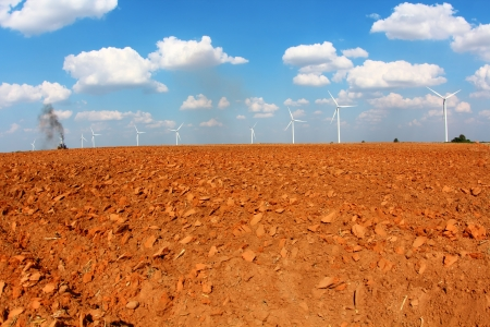 Farmland With Wind turbine, in nakhonratchasima city at thailand  Shooting with fisheye lens   photo