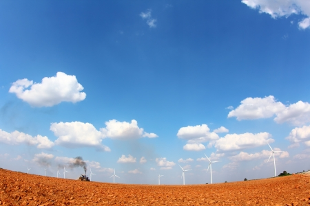 Farmland With Wind turbine, in nakhonratchasima city at thailand  Shooting with fisheye lens Stock Photo - 17504389