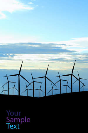 Wind field with wind turbines, Silhouettes Version design