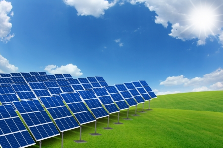 solar panels in the nature green grass field, 3D render Stock Photo - 17532518