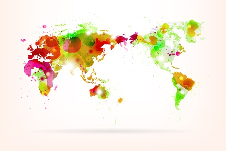 Vector World Map Creative with Splash of Color and Light Effects  Vector