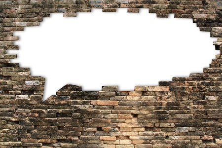 hole in the wall: brick wall texture of speech bubble background, isolated on white  Save paths for design work
