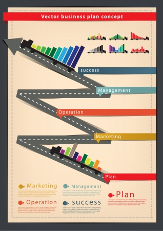 strategy diagram: Diagram business plan concept With truck, Modern Design template   infographics   Illustration