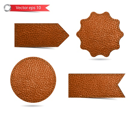 leather: Set of leather tag labels  Vector eps10 illustration