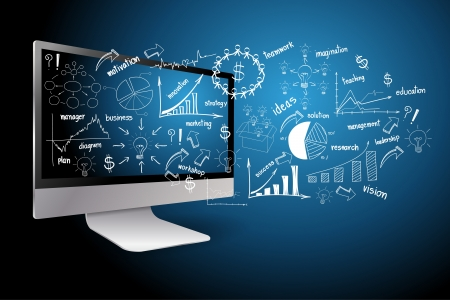 Vector desktop computer with drawing business plan concept ideas  Illusztráció