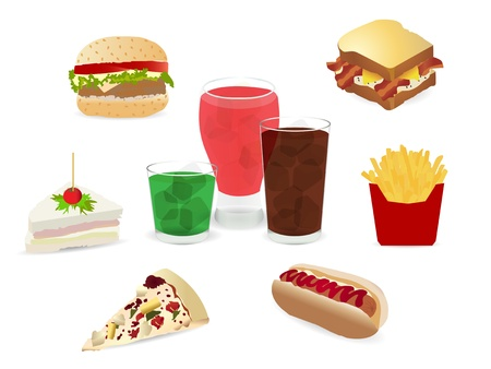 Set of colorful cartoon fast food icons. Isolated vector.  Vector