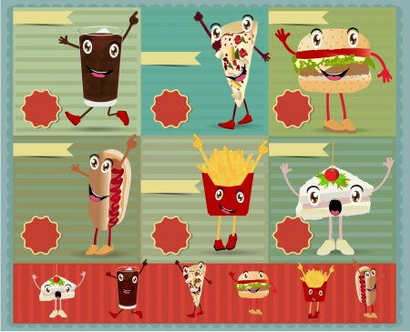 Set of Retro fast food menu funny cartoon character. Vector retro style template Design  Vector