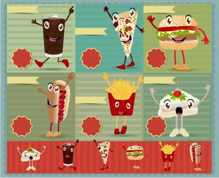 fried potatoes: Set of Retro fast food menu funny cartoon character. Vector retro style template Design  Illustration