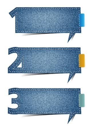 jeans fabric: Presentations Jeans texture background, with letters numbers on retro style speech bubbles
