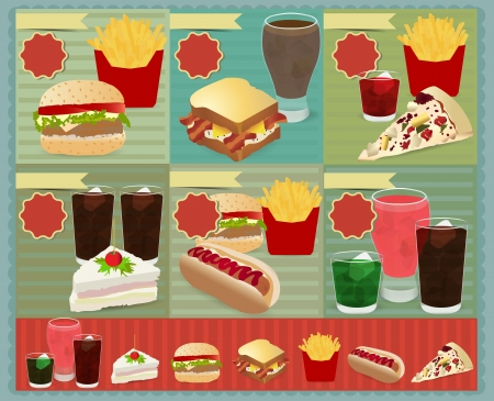 fast meal: Set of Retro fast food menu, Vector retro style template Design  Illustration
