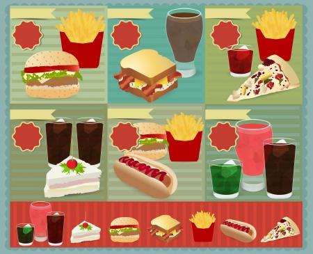 cocacola: Set of Retro fast food menu, Vector retro style template Design  Illustration