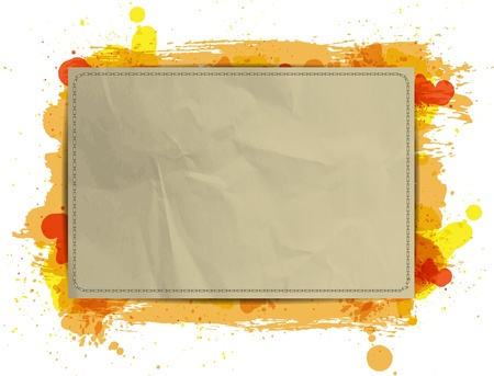 Vector paper banner / background with grungy paint watercolor Orange Stock Vector - 17792001