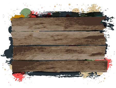 Vector Wooden signs / background with grungy paint Stock Vector - 17792000
