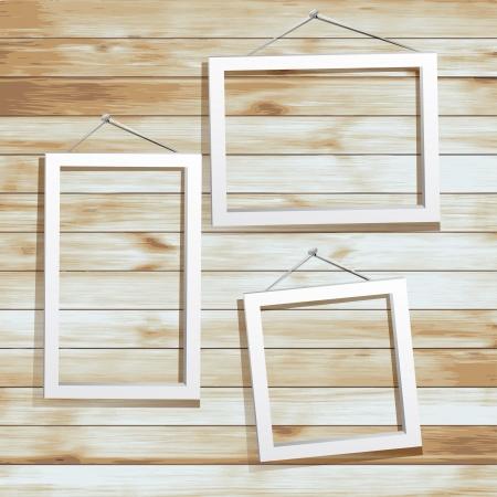 grunge photo frame: Cornice bianca su sfondo di legno Vettoriali