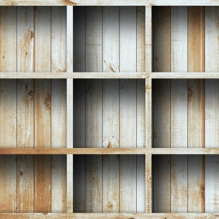 Empty wood shelf grunge industrial interior Uneven diffuse lighting version Design component photo