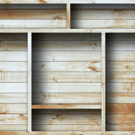 wood shelf: Estante vac�o madera grunge industrial interior desigual iluminaci�n difusa versi�n de dise�o de componentes