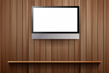 tv on wooden wall, with wood shelf, Vector illustration Stock Vector - 17934633
