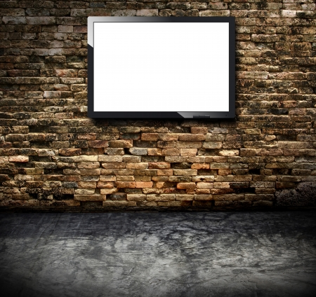 flat screen tv: Tv in the grunge room Stock Photo
