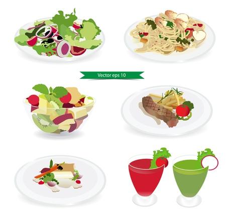 Set van voedsel menu, salade, garnalen en spaghetti, vis biefstuk, Fruitsalade, Biefstuk, Juice